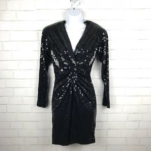 Vintage Oleg Cassini Black Sequins Dress